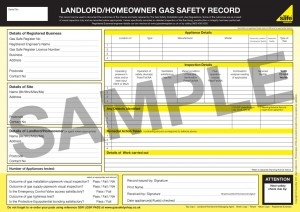 Example Gas Safety Certificate