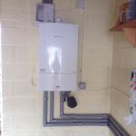 A Worcester boiler installed in a garage